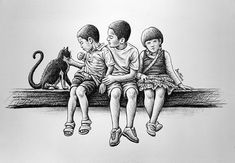 Children with Cat by BenHeine on deviantART