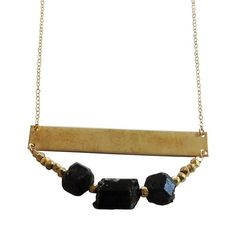Statement Beaded Necklace - Brass and Black Tourmaline - jeweleen - 1