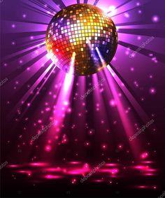 Modern illuminating disco ball sphere with spotlights disco background vector illustration Disco Background, Background Images, Dancing In September, Disco Theme, Dmx Lighting, Disco Night, Neon Backgrounds, Back Art, Disco Ball