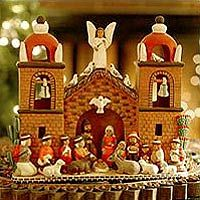 Ceramic nativity scene, 'Central Church', by Peruvian artist Dionisio Rojas