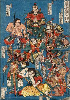 The 108 Heroes of the Suikoden: names run left to right. top; Hatsubinada Kôjû, Konseimaô Hanzui, Hitendaisei Rikon. middle; Itsushikwa Saikei, Tetsubihaku Saifuku, Tettekisen Barin. bottom; Saijinki Kwakusei, Hakujisso Hakushô, Shô-onkô Ryohô . 1830.