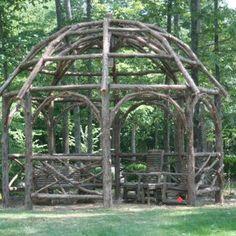 Rustic Dome Roof Cedar Pergola by Luke Barrow   wood stick driftwood reclaimed