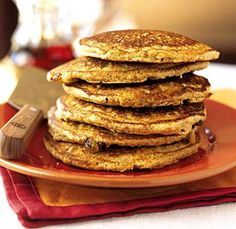 Paleo Pancakes...This recipe is good but here are a few tips: Substitute Coconut milk for the water, add a tiny bit of vanilla, and a bit of baking powder for a nice fluff! I love heating up maple syrup with pecans or walnuts to pour over the top too!