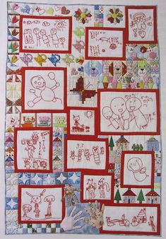too freaking cute, redwork your babies drawings into a quilt...I have some drawings from my nephews that would be cool for this :)