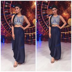 Roshni Chopra # Monu Roy # draped look # cropped look # Western Dresses, Western Outfits, Traditional Skirts, Engagement Outfits, Bollywood Fashion, Fashion 2020, Indian Fashion, Celebrity Style, Two Piece Skirt Set