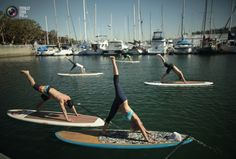 Instructor Sarah Tiefenthaler (front) demonstrates a pose during her Yogaqua class, which combines yoga and paddleboarding, in Marina Del Rey, Los Angeles January 28, 2012. REUTERS/Lucy Nicholson
