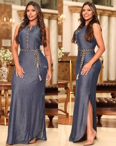 Photo shared by Verbo on March 2019 tagging L'image peut contenir : 2 personnes Jean Dress Outfits, Denim Maxi Dress, Simple Dresses, Plus Size Dresses, Casual Dresses, Latest African Fashion Dresses, African Print Fashion, Classy Outfits, Chic Outfits