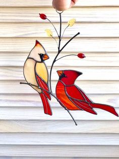 Couple of Red Cardinals stained glass suncatcher window hang.-Couple of Red Cardinals stained glass suncatcher window hanging - Stained Glass Cardinal, Stained Glass Ornaments, Stained Glass Christmas, Stained Glass Suncatchers, Stained Glass Flowers, Stained Glass Projects, Stained Glass Tattoo, Custom Stained Glass, Faux Stained Glass
