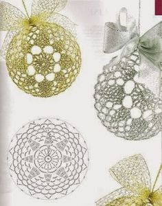 Crochet Lace to Cover a Christmas Ball - Thread with a metschematy bombek by siwabombka na Stylowi.crochet for X-Mas Crochet Christmas Decorations, Crochet Decoration, Crochet Ornaments, Christmas Crochet Patterns, Crochet Snowflakes, Beaded Ornaments, Christmas Baubles, Holiday Ornaments, Xmas Decorations