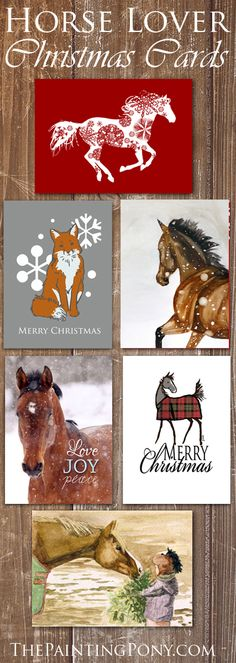 Nice collection of HORSE LOVER christmas cards! Cute pony and horse themed folding note cards and also flat photo template holiday cards for your family photograph. Pretty equestrian artwork! Great to send to all of your barn friends and family.