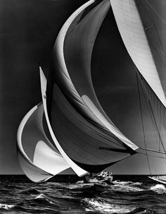 "flying spinnakers Morris Rosenfeld 1938 One of my favorite photographers - you can ""feel"" the wind in the sail."