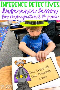 Hands-On Inference lesson where students become inference detectives to solve the Case of the Missing Cape! Engaging and SO MUCH FUN for K-1!