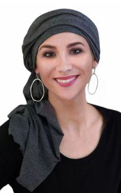 Charcoal Gray Turban Head Wrap (1 Piece)