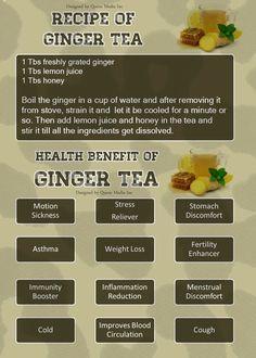 Ginger Tea : Healthy Yet delicious Hot Beverage Healthy Drinks, Healthy Tips, Healthy Recipes, Detox Drinks, Health Benefits Of Ginger, Lemon Ginger Tea Benefits, Clean Eating, Healthy Eating, Healthy Carbs