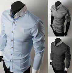 Mens Long Sleeve Shirts Mens Dress Clothing Men Casual Shirt Blue Shirts for Men