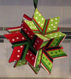 Moravian Star Ornament- paper, glue, fabric and thread Origami Christmas Star, Quilted Christmas Ornaments, Fabric Ornaments, 3d Christmas, Christmas Sewing, Christmas Projects, Christmas Decorations, Christmas Ideas, Origami Xmas Ornaments