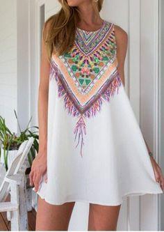 Ethnic Style Scoop Neck Sleeveless Printed Women's Dress