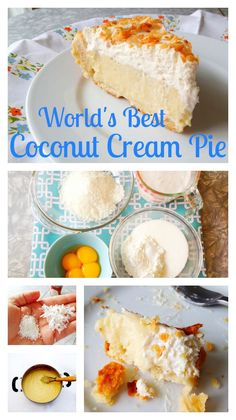 Seriously the worlds best coconut cream pie recipe ever from Todays Mama and Made with a different kind of coconut and with coconut milk, people call and email this Pinner for the recipe all year. Youve never had a coconut pie like this, its PERFECT. Just Desserts, Delicious Desserts, Dessert Recipes, Coconut Recipes, Baking Recipes, Best Coconut Cream Pie, Coconut Milk, Toasted Coconut, Coconut Custard