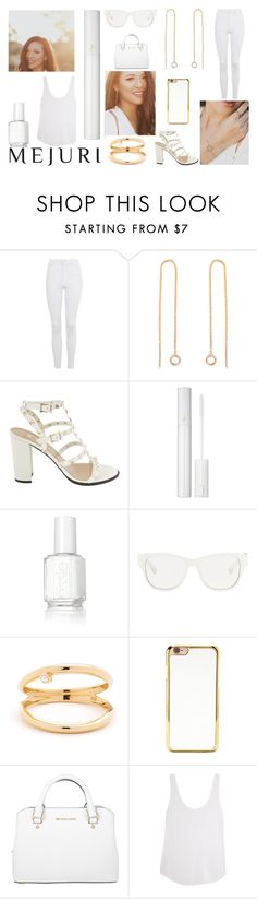 """Mejuri"" by j-n-a ❤ liked on Polyvore featuring Topshop, Lancôme, Essie, 3.1 Phillip Lim, Forever 21, Michael Kors, Frame Denim, contestentry and jenchaexmejuri"