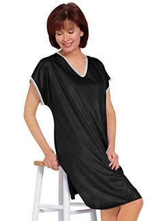Silky soft nightshirt with lace trim. Slips on for easy wear. f00a85970
