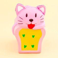 Pink Neko & Bread Loaf Squishy