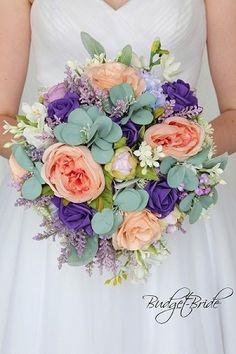 Romantic theme wedding flower brides bouquet with peach, bellini peach, regency purple, lilac and eucalyptus