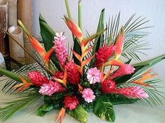 Wedding ideas on a budget red floral arrangements 67 Ideas - Tropical Arrangements - Flowers Tropical Flowers, Tropical Flower Arrangements, Church Flower Arrangements, Church Flowers, Hawaiian Flowers, Exotic Flowers, Amazing Flowers, Tropical Centerpieces, Ginger Flower