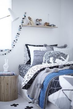 Little boys room styling details from House 5. Grey, white, blue and black.