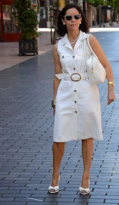 White outfit for summer Casual Chic, Casual Wear, Casual Dresses, Fashion Dresses, Summer Dresses, Little White Dresses, One Piece Dress, Linen Dresses, Denim Fashion