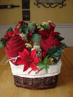 Great Gift idea for Christmas, Basket filled with bath towels or kitchen towels.