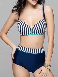 b5606d03a5 Trendy Anchor Decorated Striped Plus Size Bikini Set For Women