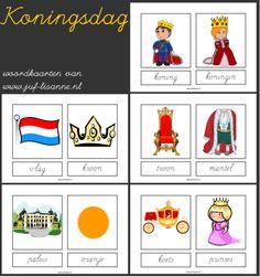 koningsdag woordkaarten schrijfletter vb met lidwoord