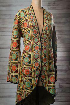 Women's Vintage Sari Jacket-Size X-Large