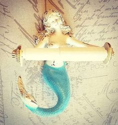 Mermaid Toilet Paper Holder, Mermaid Decor, Bathroom Decor, Mermaid Bathroom, Na. Mermaid Toilet P Mermaid Bathroom Decor, Nautical Bathroom Decor, Mermaid Room, Nautical Home, Coastal Decor, Bathroom Ideas, Mermaid Mermaid, Nautical Style, Gold Bathroom