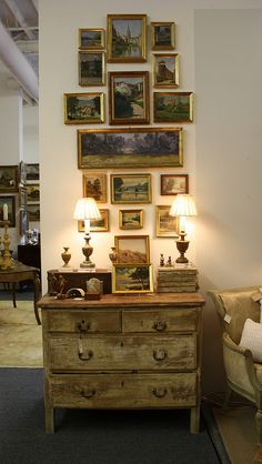 Gallery wall of beautiful French paintings
