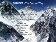 Futurize yourself & your Business – The Everest Way  The Everest Way – Human Innovation is 1 of the world's most innovative transformation methods   The Everest Way -  mobilizes individuals to implement the mental steps to achieve what's never been done before!  Have a regenerating weekend - give yourself a break. I will. Warm regards Lene Gammelgaard
