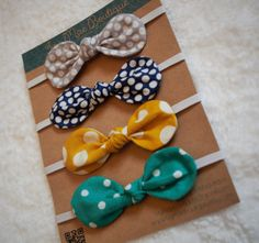 Assorted Knotted Fabric Bows //headbands//skinny by IvyMaeBoutique, $3.00