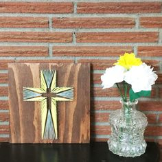 String Art Cross 12x12, Made to Order, Custom Colors and Wood Finish - TKL Designs