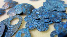 Salt water and ammonia patina on copper and brass blanks. Kari Hamilton