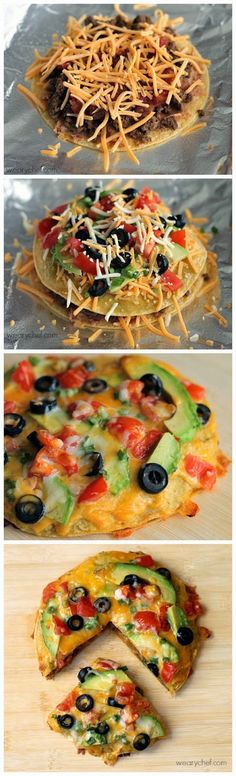 This loaded Mexican pizza is stuffed with beans and seasoned meat then topped with avocado, olives, and more! I'd also use low carb tortillas Think Food, I Love Food, Good Food, Yummy Food, Beef Recipes, Mexican Food Recipes, Cooking Recipes, Mexican Dishes, Enchiladas