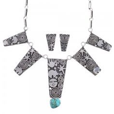 Turquoise Sterling Silver Navajo Water Wave And Bear Link Necklace Earrings Set…