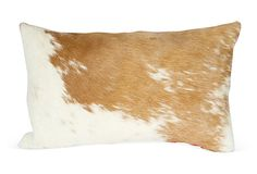 Custom light tan and ivory cowhide front pillow