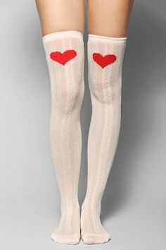 Heart Knee Cableknit Over-The-Knee Sock #urbanoutfitters