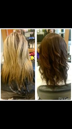 Colour change blonde to brunette