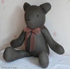 Tuto for  lovely Teddy Bear (à faire en lin avec un foulard en liberty)