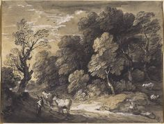 """artgalleryofontario: """" Wooded Landscape with Herdsman and Cattle, c. 1775 - 1780 Thomas Gainsborough, British, 1727 - 1788 Black chalk and grey-black washes, heightened with white gouache on laid. Landscape Sketch, Landscape Drawings, Landscape Paintings, Landscapes, Art Gallery Of Ontario, White Gouache, Wooded Landscaping, Thomas Gainsborough, Tree Study"""