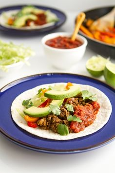 vegan: fajitas with lentil walnut meat...