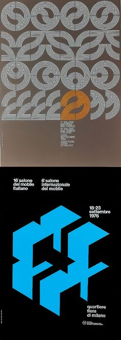 The Salone Internazionale del Mobile is a trade fair that was formed in 1961 that is a showcase of excellent Italian furniture. Dwell has featured a great gallery showing the evolution of the event posters. Both these were designed by by Alberto Longhi, the top in 1968, and the one below was done in 1976.