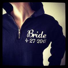 I SO WANT THIS!!!!!!Bridal Sweatshirt Quarter Zip Bridal Gift by MonogramsExpress, $40.00