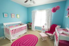 BRIGHT pink, blue and white nursery from @Project Nursery | Junior. The bold colors make me smile! What a sweet place for a little girl to sleep... /ES